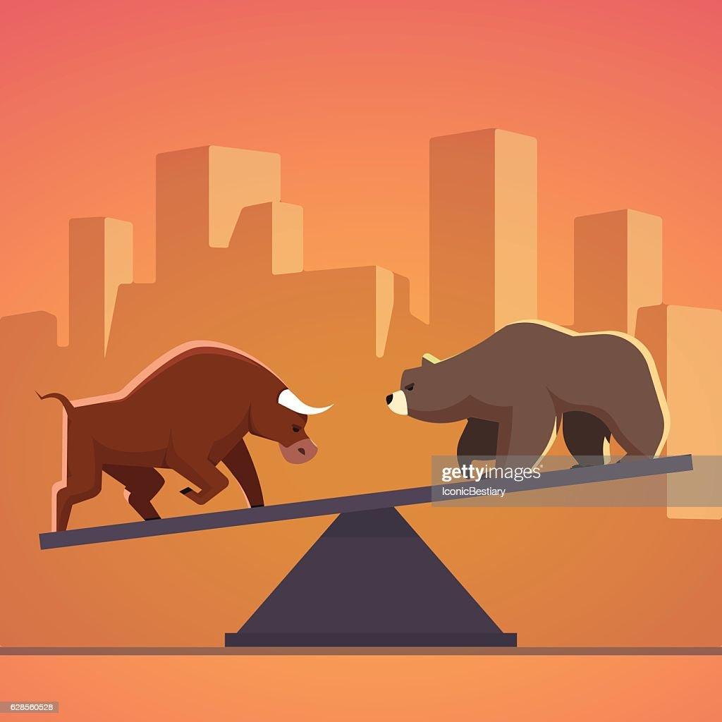 Stock market bulls and bears battle metaphor