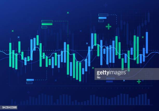 stock market candlestick financial analysis abstract - finance and economy stock illustrations