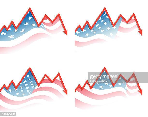 Stock market chart and american flag