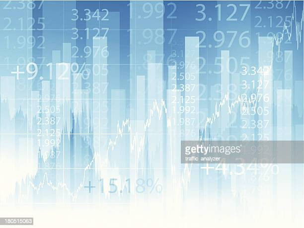 Stock market chart and numerals on blue background