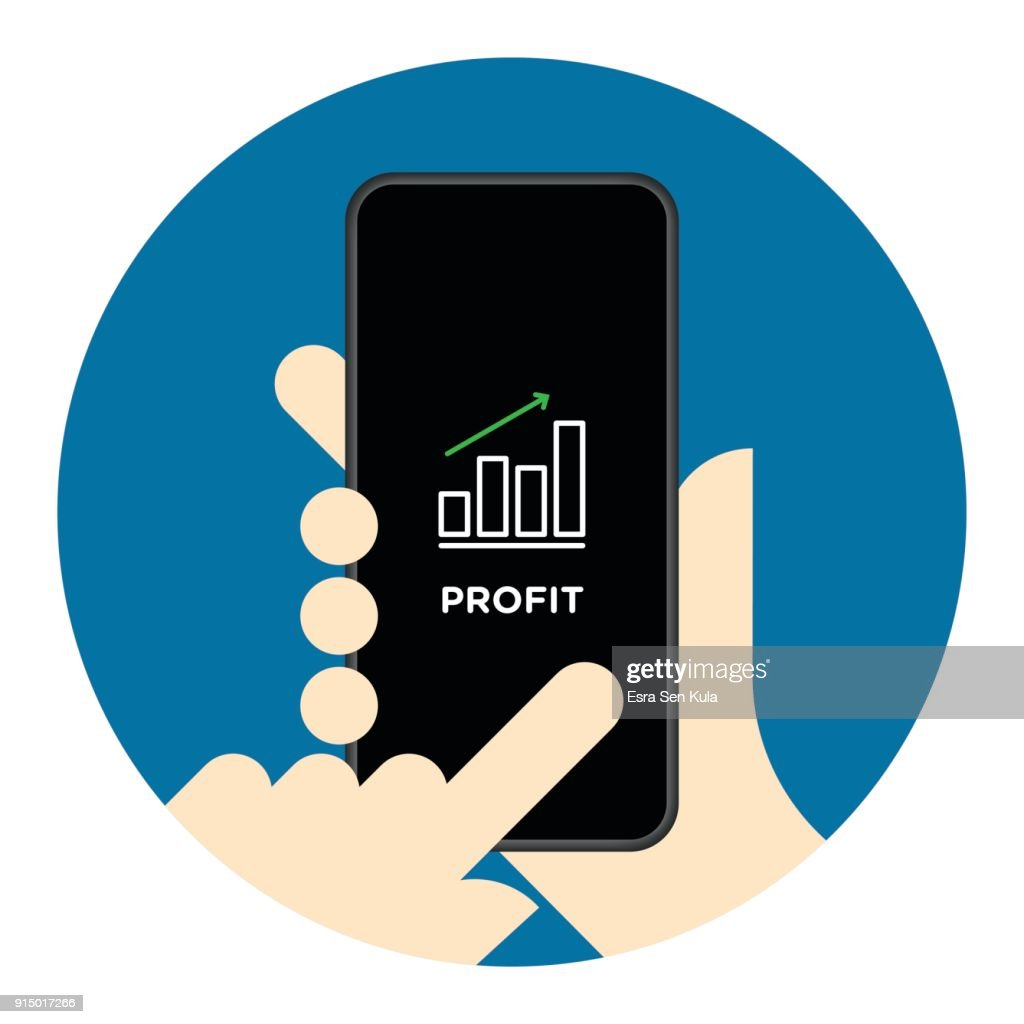 Stock market chart on mobile phone screen