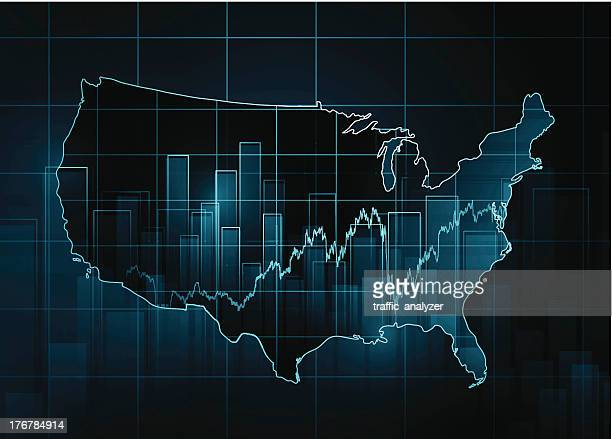 Stock market chart over USA map