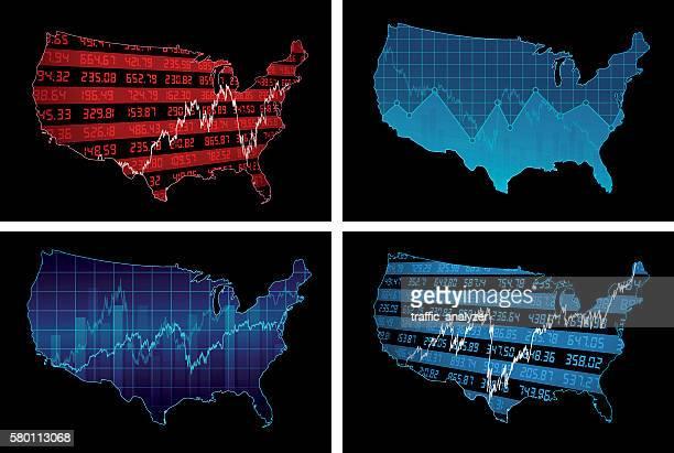 stock market chart over usa map - nasdaq stock illustrations, clip art, cartoons, & icons