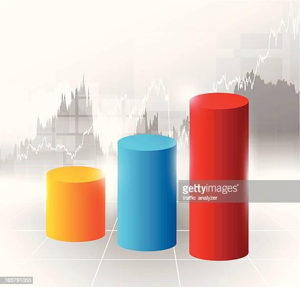 ilustrações, clipart, desenhos animados e ícones de gráfico do mercado de ações - cilindro