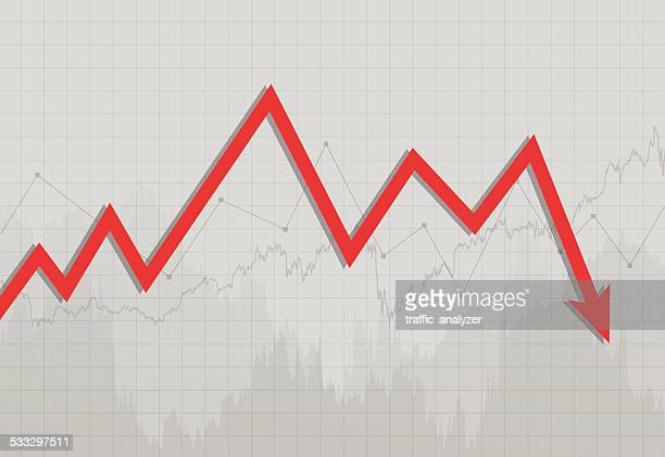 stock market chart - moving down stock illustrations