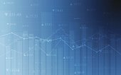 Stock market chart with line graph on gradient blue color