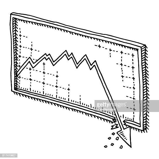 stock market crash graph drawing - stock market crash stock illustrations