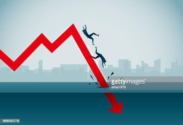 stock market crash - deterioration stock illustrations