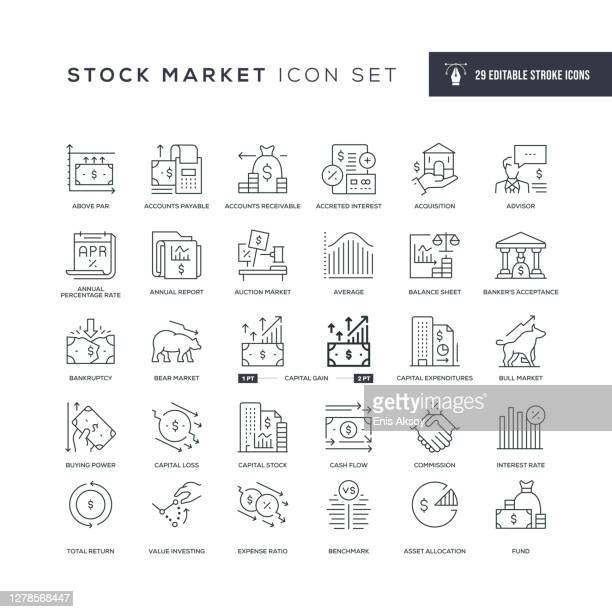 ilustraciones, imágenes clip art, dibujos animados e iconos de stock de iconos de línea de trazo editables del mercado de valores - mercado bursátil