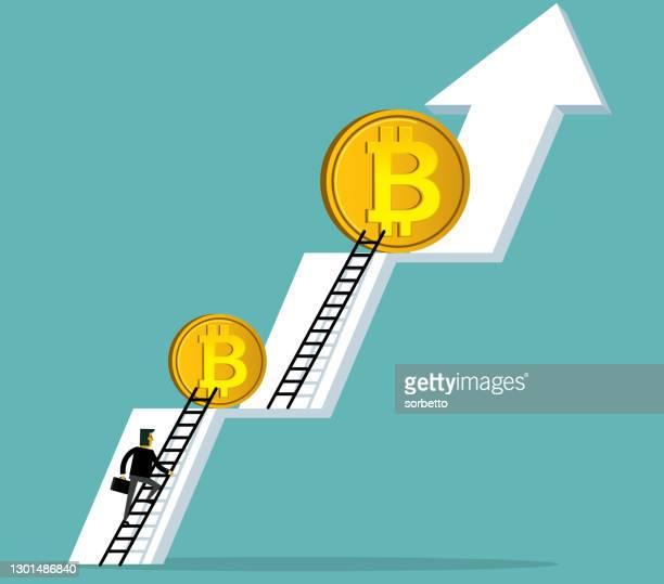 illustrazioni stock, clip art, cartoni animati e icone di tendenza di un grafico del mercato azionario - bitcoin - bitcoin