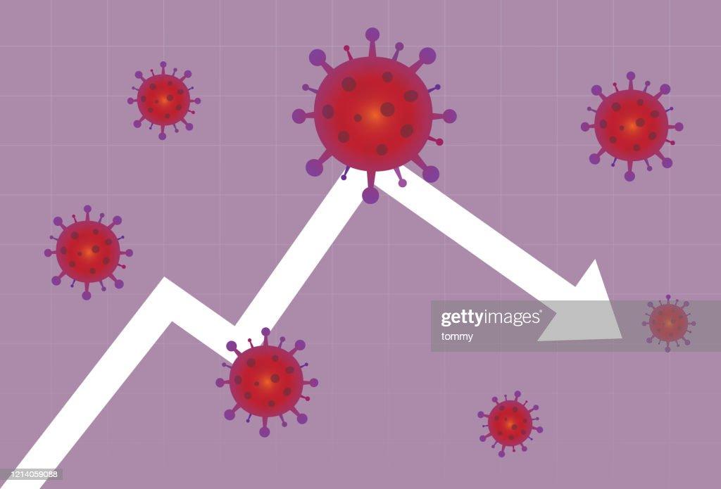 Stock market graph crash a virus : stock illustration