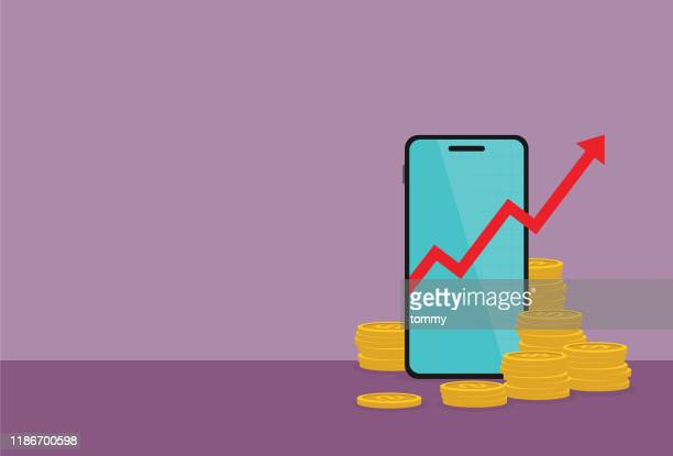 a stock market graph in mobile phone and stack of coin - making money stock illustrations