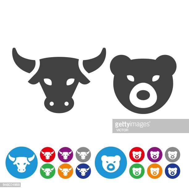 illustrations, cliparts, dessins animés et icônes de marché boursier icons - série graphique icône - ours