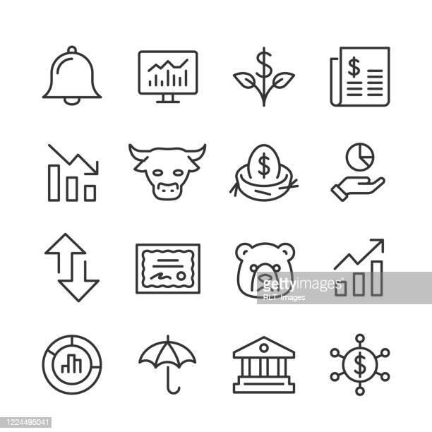 börsen-ikonen — monoline-serie - glocke stock-grafiken, -clipart, -cartoons und -symbole