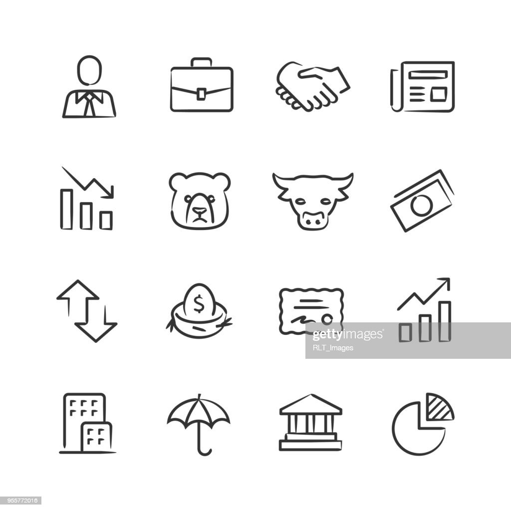 Stock Market Icons — Sketchy Series