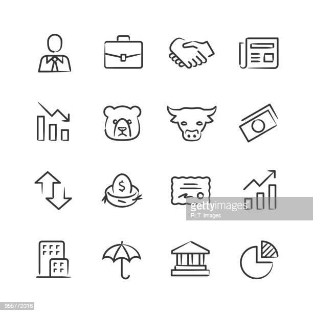 ilustrações, clipart, desenhos animados e ícones de ícones do mercado de ações — série esboçado - parte de uma série