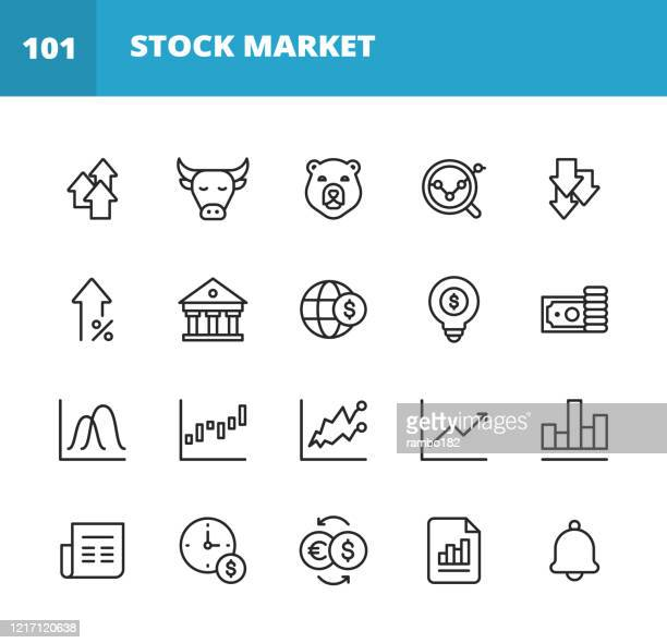 stock market line icons. editable stroke. pixel perfect. for mobile and web. contains such icons as stock market, currency exchange, cryptocurrency, savings, investment, bull market, bear market, data, graph, technical analysis, growth, recession. - wall street stock illustrations