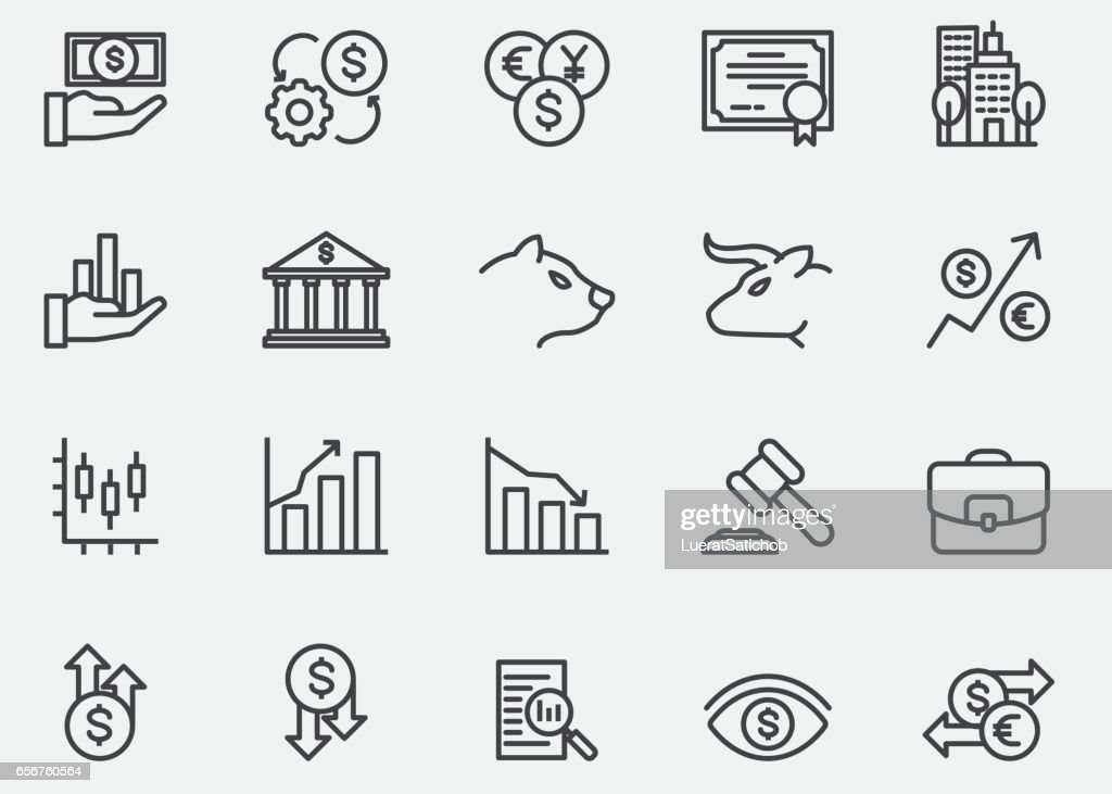 Stock Market Line Icons | EPS10
