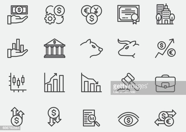 stock market line icons | eps10 - making money stock illustrations