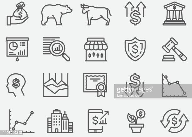 stockillustraties, clipart, cartoons en iconen met stock market lijn pictogrammen - nederlaag