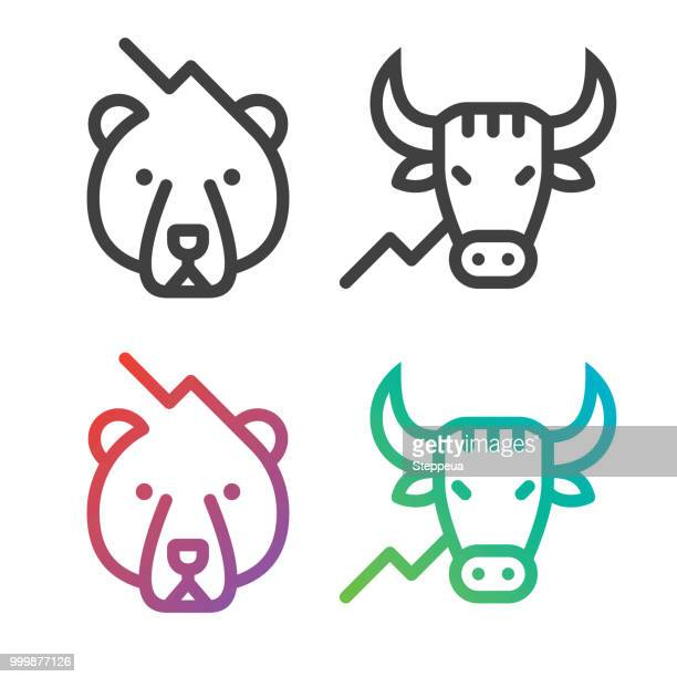 stock market line icons - male animal stock illustrations