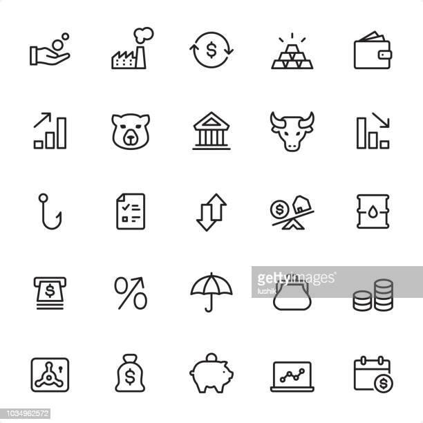 stock market - outline icon set - gold purse stock illustrations
