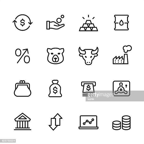 Stock Market - outline style vector icons