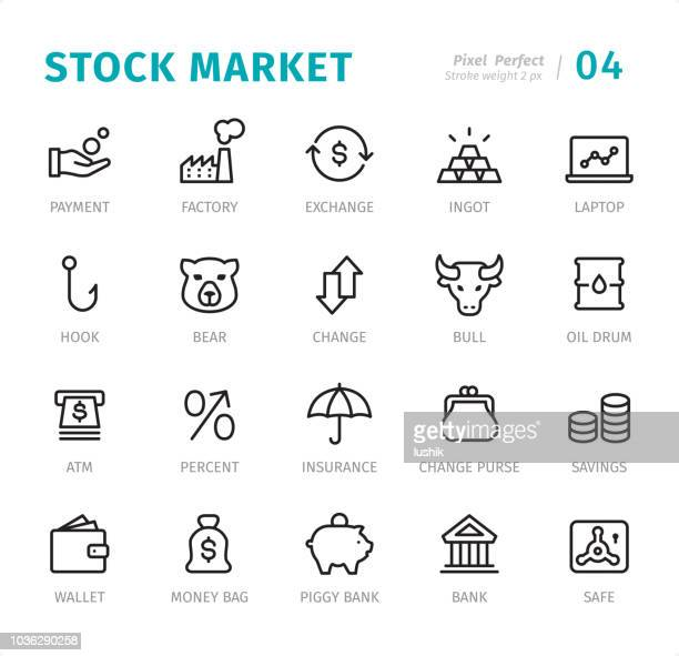 stock market - pixel perfect line icons with captions - bear market stock illustrations