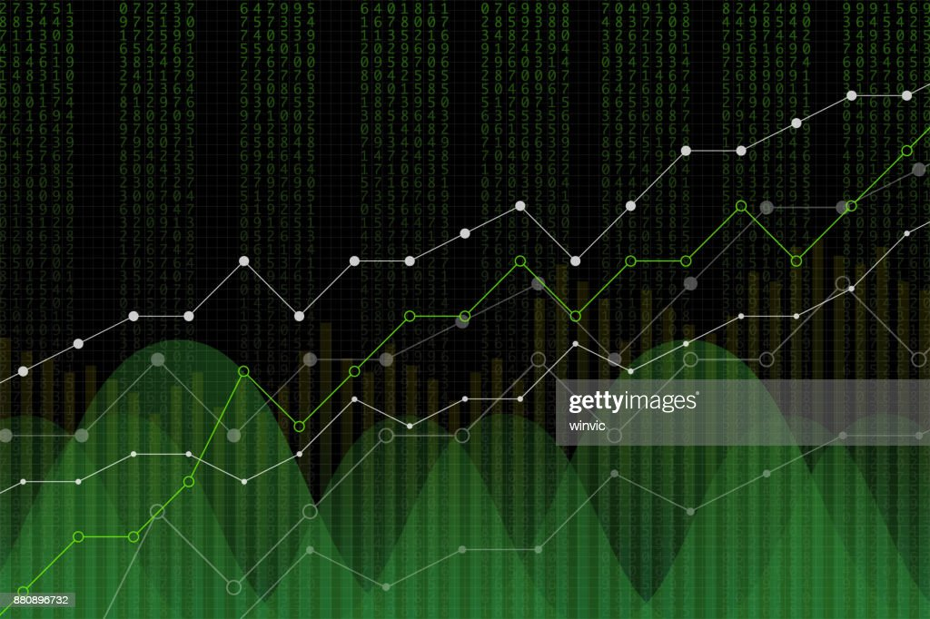 Stock market revenue graph, vector illustration. Green numbers column, uptrend lines, trading screen concept on black background. Digital diagram for revenue growth.