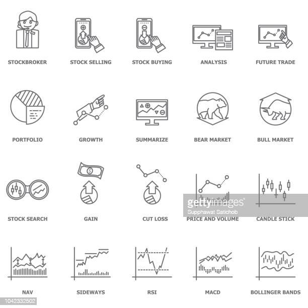 stock market smooth line icons - defeat stock illustrations