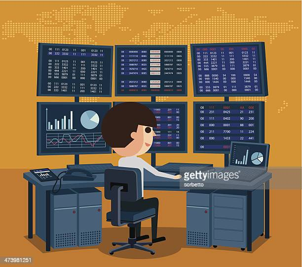 stock market trader - office cubicle stock illustrations, clip art, cartoons, & icons