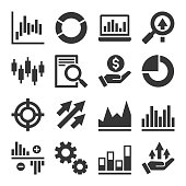 Stock Market Trading Icons Set. Vector