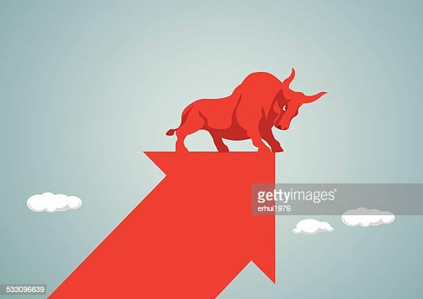 stock market - bull market stock illustrations, clip art, cartoons, & icons