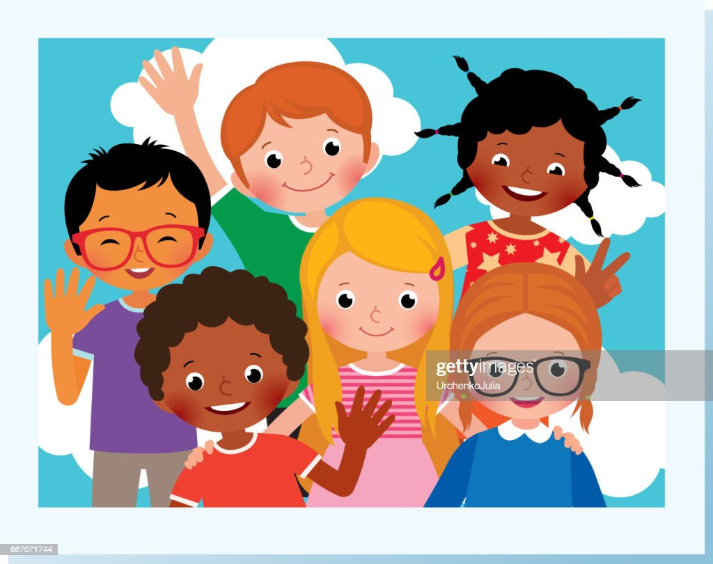 Stock Vector Cartoon Illustration. Photo group of happy children of different nationalities in the summer camp