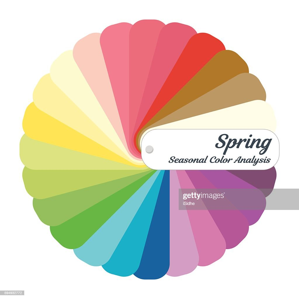 Stock vector color guide. Seasonal color analysis palette for spring type