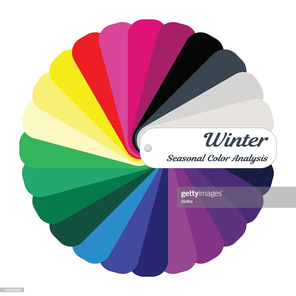 Stock vector color guide. Seasonal color analysis palette for winter type