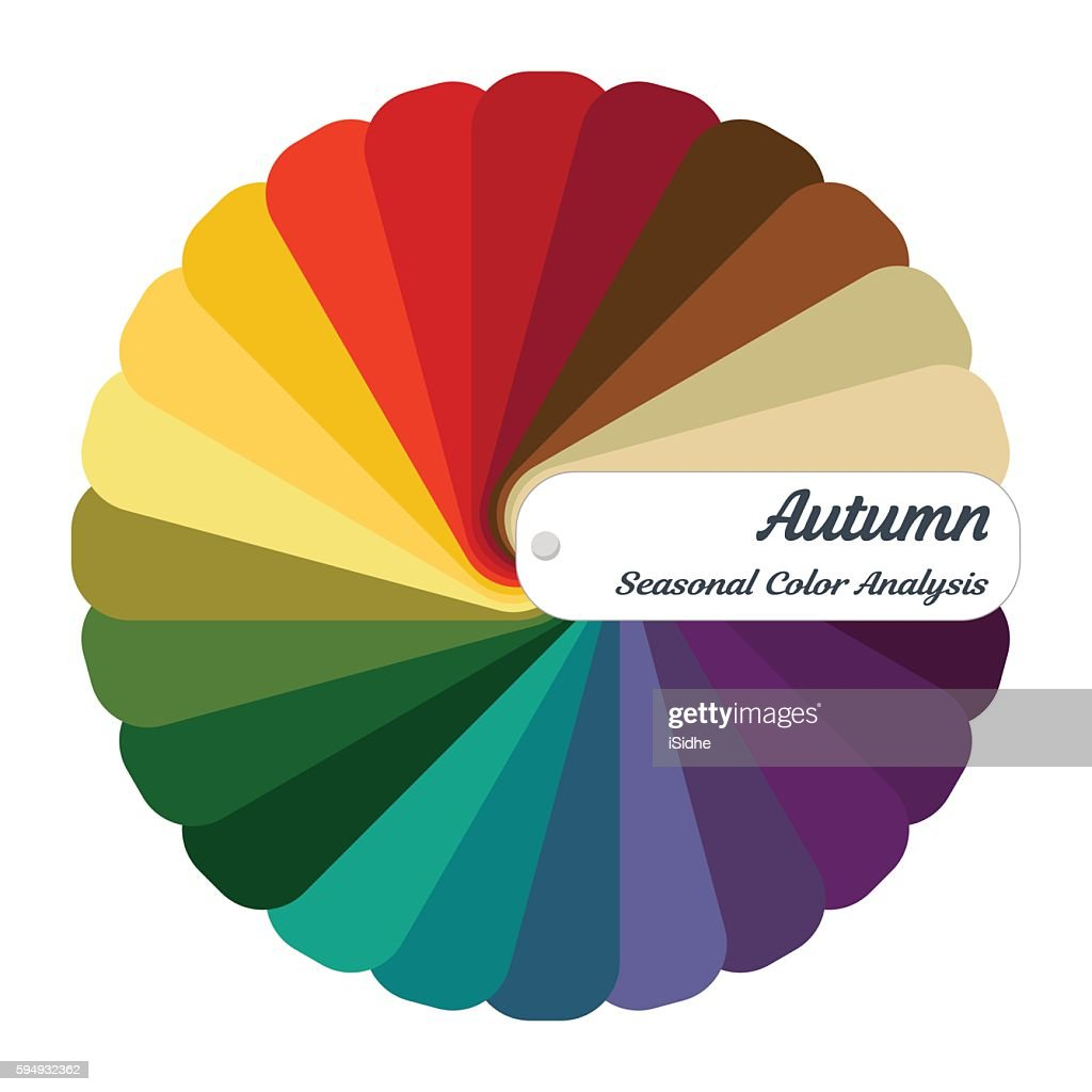 Stock vector color guide.Seasonal color analysis palette for autumn type