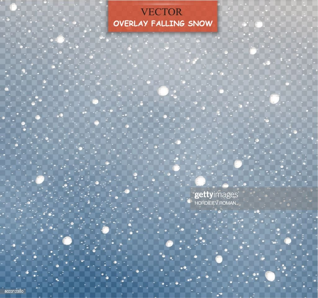 Stock vector illustration falling snow. Snowflakes, snowfall. Transparent background. Fall of snow