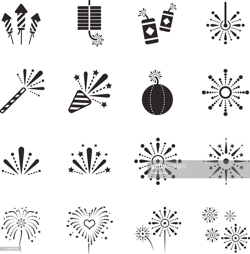 Stock Vector Illustration: Fireworks icons