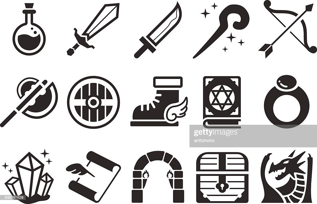 Stock Vector Illustration: Game RPG icons
