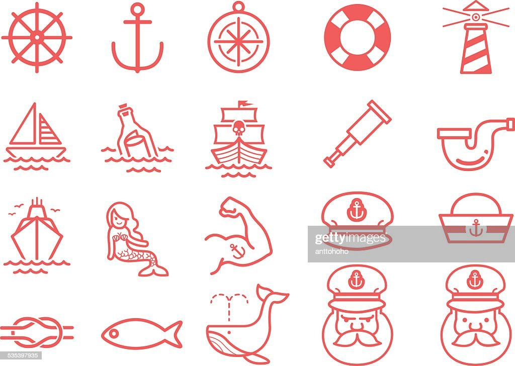 Stock Vector Illustration: Nautical icons