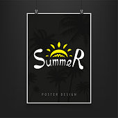 Stock vector illustration night billboard summer. Palm trees, date palms. Nighttime, black, late evening, party, luxury. Mock up, mockup. Art for banners, flyers, placards and posters. EPS10