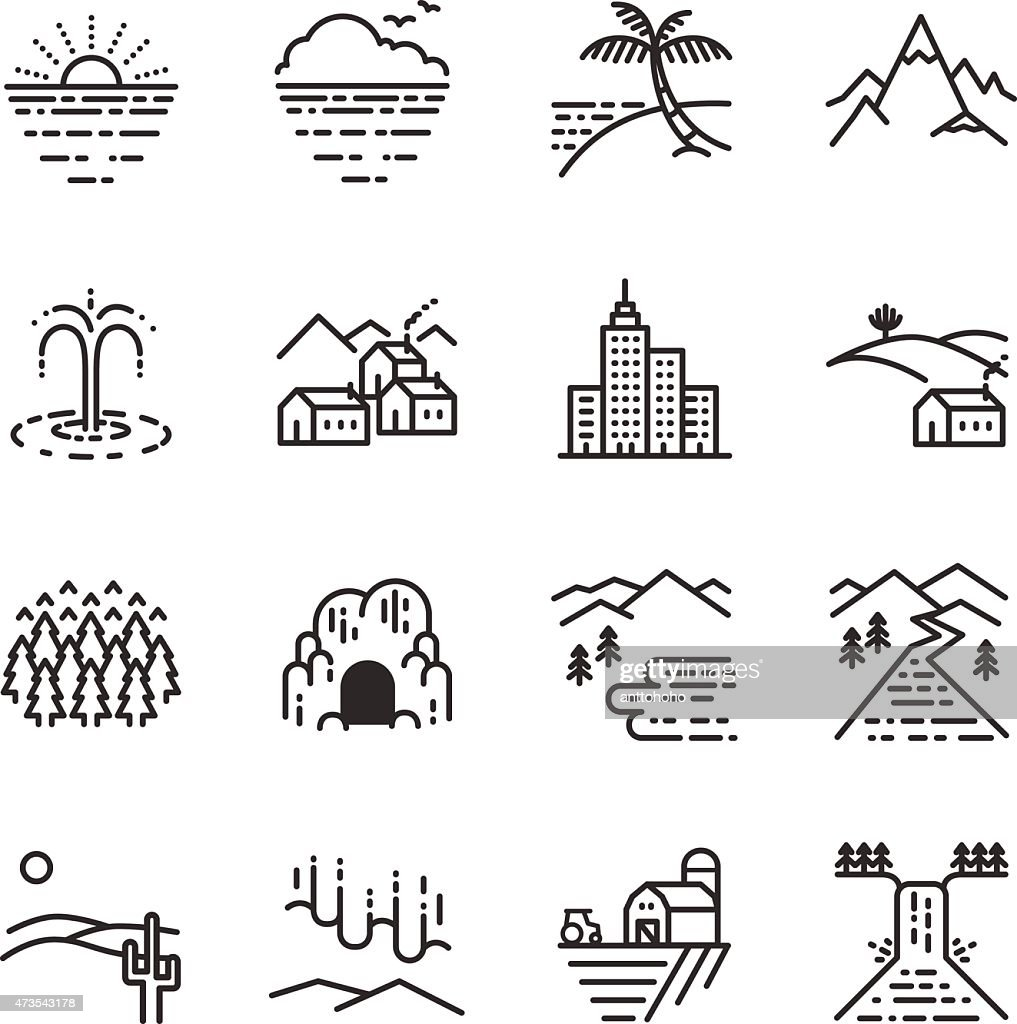 Stock Vector Illustration: Travel locations line icon