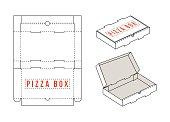 Stock vector rectangular box for pizza slices