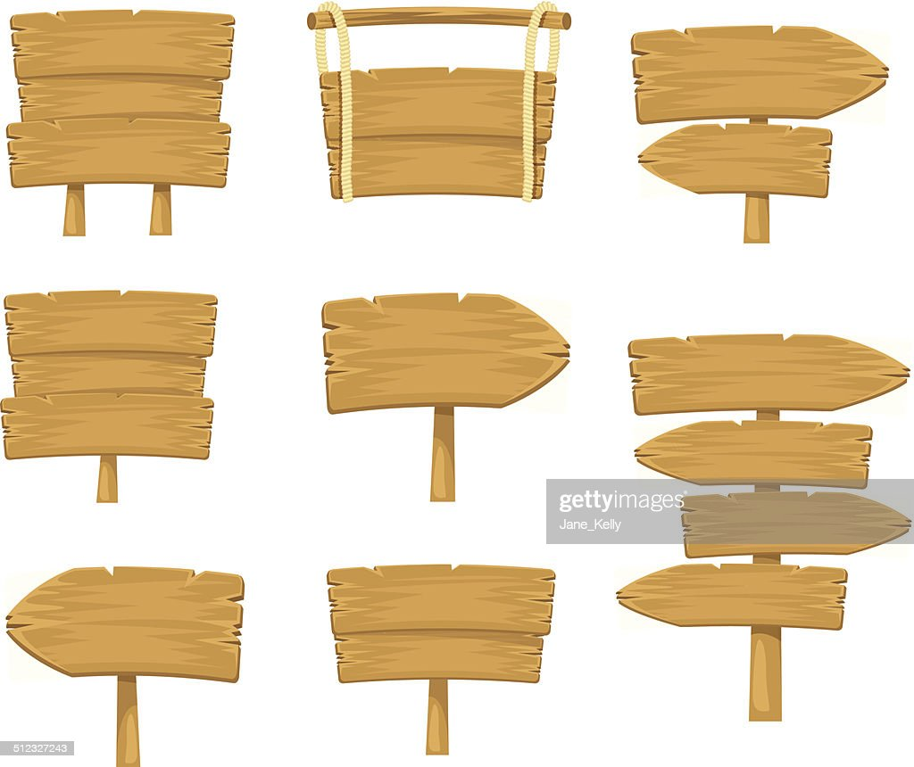 Stock vector wooden sign boards simple set