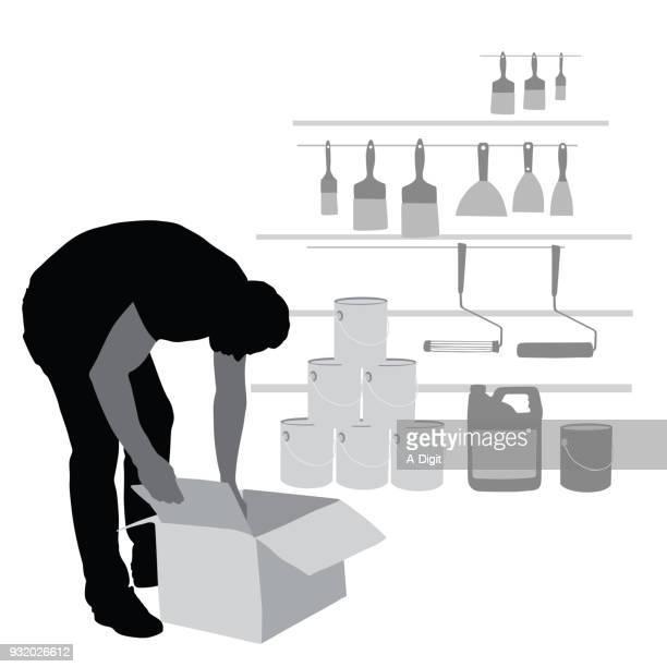 stocking hardware - retail display stock illustrations, clip art, cartoons, & icons