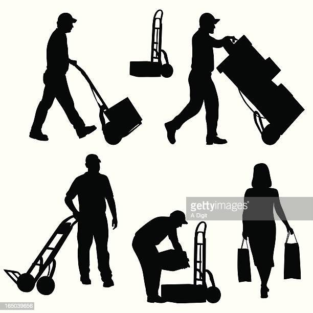 stocking the shelves vector silhouette - hand truck stock illustrations, clip art, cartoons, & icons