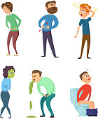 Stomachache poison and diarrhea. Healthcare illustrations. Vector characters set