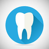 Stomatology and Dental Treatment Symbol Tooth Icon with long shadow