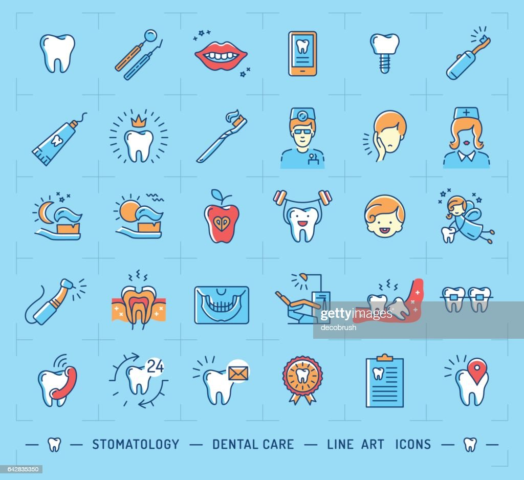 Stomatology icon Dental care logo. Children dentistry thin line icons